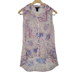 H&M Purple Paisley Print Sleeveless Tunic Top 2